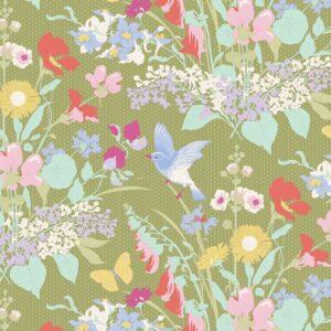 Quilting Patchwork Fabric TILDA Gardenlife Bird Floral Green 50x55cm FQ