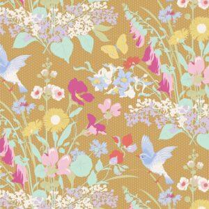 Quilting Patchwork Fabric TILDA Gardenlife Bird Floral Mustard 50x55cm FQ