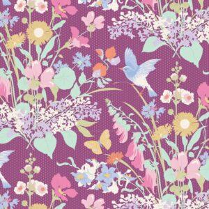 Quilting Patchwork Fabric TILDA Gardenlife Bird Floral Plum 50x55cm FQ