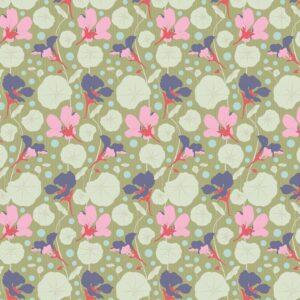 Quilting Patchwork Fabric TILDA Gardenlife Nasturtium Green 50x55cm FQ