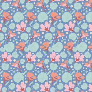Quilting Patchwork Fabric TILDA Gardenlife Nasturtium Blue 50x55cm FQ
