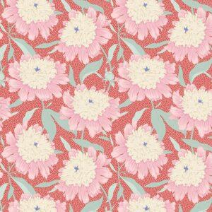 Quilting Patchwork Fabric TILDA Gardenlife Peony Coral 50x55cm FQ