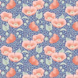 Quilting Patchwork Fabric TILDA Gardenlife Poppies Blue 50x55cm FQ