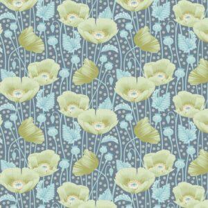 Quilting Patchwork Fabric TILDA Gardenlife Poppies Grey 50x55cm FQ