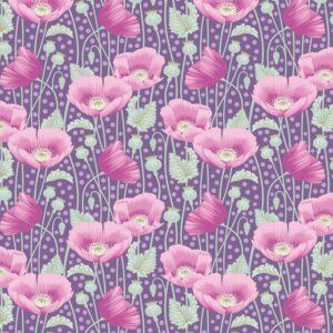 Quilting Patchwork Fabric TILDA Gardenlife Poppies Lilac 50x55cm FQ