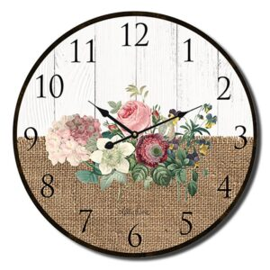 Clock Country Vintage Inspired Wall Country Heirloom Floral 22cm