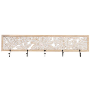 French Country Ornamental Hooks Rack Timber Carved Wood