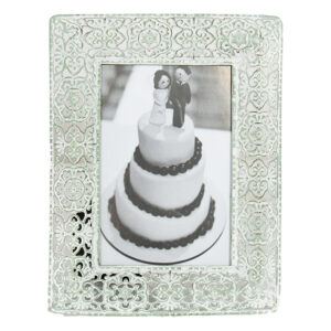 French Country Lace Metal Frame Pastel Green 6x4 Inch