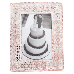 French Country Lace Metal Frame Pastel Pink 6x4 Inch