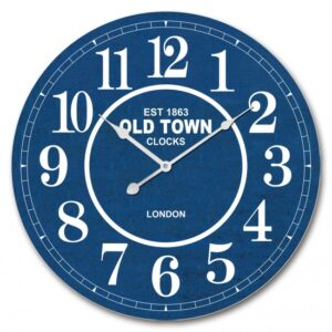 Clock French Country Wall Hanging Old Town London Navy 60cm