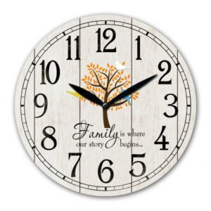 Clock Wall French Country Family Story Begins Tree White 29cm