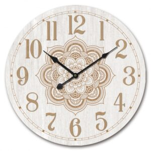 Clock French Country Wall Hanging Gold Mandala on White 60cm