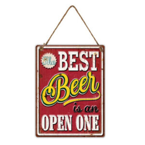 Country Metal Tin Sign Wall Art Embossed Best Beer is Open One