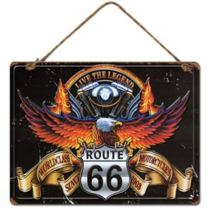 Country Metal Tin Sign Wall Art Route 66 Eagle Wall Hanging