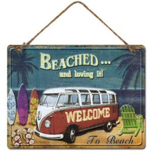 Country Metal Tin Sign Wall Art Kombi Beached and Loving It