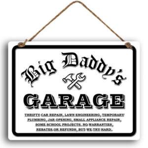 Country Metal Tin Sign Wall Art Big Daddy's Garage
