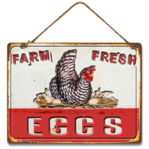 Country Metal Tin Sign Wall Art Farm Fresh Eggs Chicken Hen