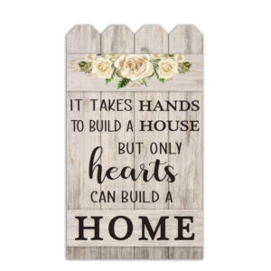 French Country Wall Art Hearts Build a Home Large Wooden Sign