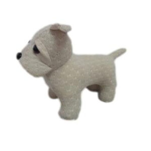 French Country Vintage Weighted White Fabric Dog Door Stopper