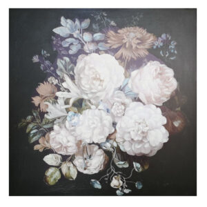 French Country Canvas Print Bouquet on Black B 80x80cm Large Picture