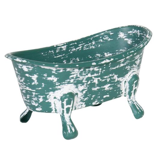 French Country Vintage Decorative Enamel Bathtub Soap Holder Green