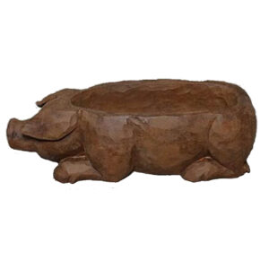 French Country Rustic Wooden Carved Pig Bowl