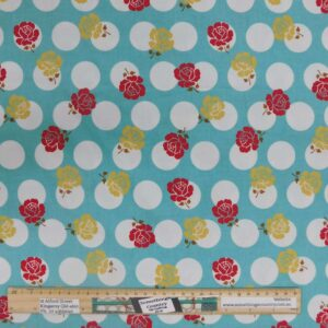 Quilting Patchwork Fabric Blue Spot Roses Allover 50x55cm FQ