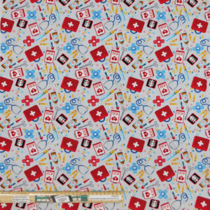 Quilting Patchwork Fabric Doctors Bag Allover 50x55cm FQ
