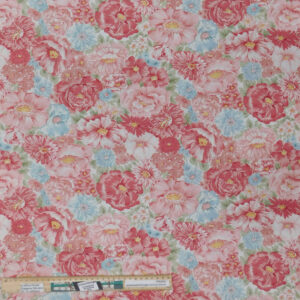 Quilting Patchwork Fabric Sanctuary Pink Floral Allover 50x55cm FQ
