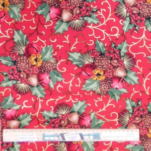 Quilting Patchwork Fabric Red Christmas Holly Allover 50x55cm FQ