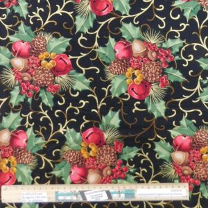 Quilting Patchwork Fabric Black Christmas Holly Allover 50x55cm FQ