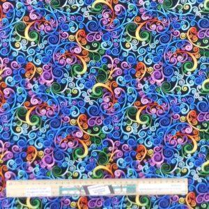 Quilting Patchwork Fabric Rainbow Swirls Allover 50x55cm FQ