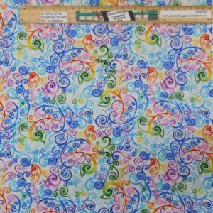 Quilting Patchwork Fabric Rainbow Swirls C Allover 50x55cm FQ