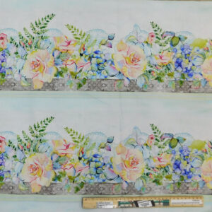 Quilting Patchwork Fabric Patricia Floral Border Allover 50x55cm FQ