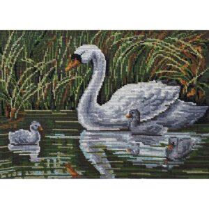 Gobelin Printed Tapestry Needlepoint Swan 30x40cm Canvas