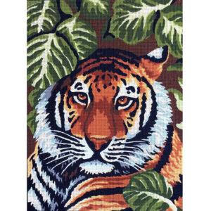 Gobelin Printed Tapestry Needlepoint Tiger Head 30x40cm