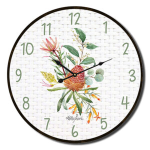 Clock Country Vintage Inspired Wall Blossom Protea 22cm