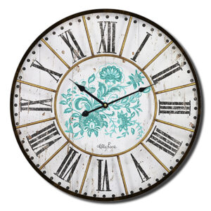 Clock Country Vintage Inspired Wall Country Rustic Turquoise 34cm