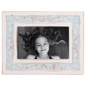 French Country MDF Photo Frame Blue White 6x4 Inch