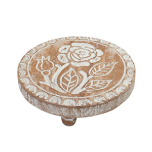 French Country Rustic Wooden Carved Trivet Pot Stand