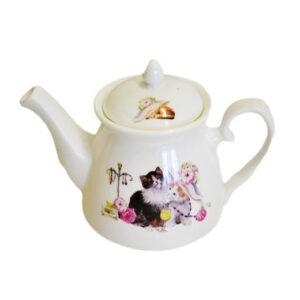 French Country Lovely Kitchen Tea Pot Cat Kitten China Teapot
