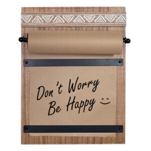 Country Rustic Wooden Hanging Memo Board with Brown Paper