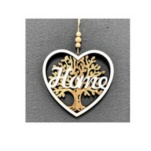 Country Rustic Wooden Sign Hanging Heart Home Tree of Life