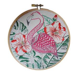 Make It Printed Embroidery Flamingo Art Hand Stitching