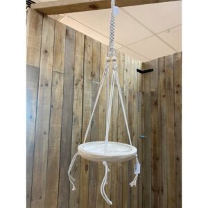 French Country Macrame Pot Plant Hanger with Wooden Shallow Bowl F