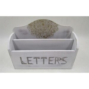 French Country Wooden Envelope Letter Holder Stationery LETTERS