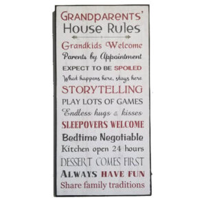 Country Rustic Wooden Sign Hanging Grandparents Rules Large