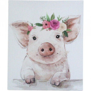 French Country Canvas Print Small Boho Pig Picture