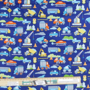 Quilting Patchwork Sewing Fabric Construction Trucks 50x55cm FQ