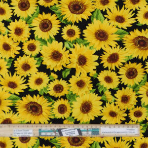 Quilting Patchwork Sewing Fabric Sunflower Garden Black 50x55cm FQ